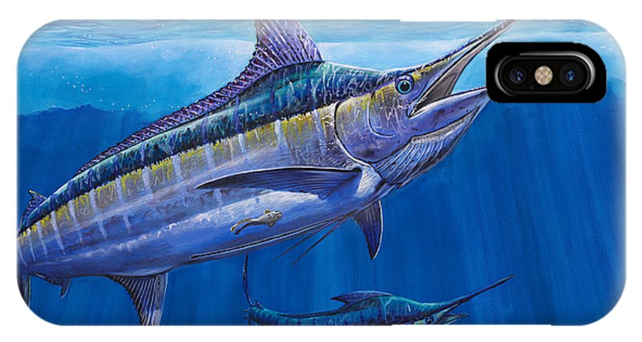Blue Marlin IPhone X Case featuring the painting Blue Marlin Bite Off001 by Carey Chen