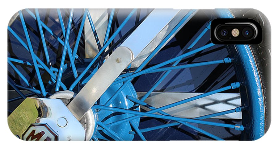 Auto IPhone X Case featuring the photograph Blue Mg Wire Spoke Rim by Mark Steven Burhart