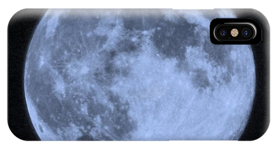 Blue Moon IPhone X Case featuring the photograph Blue Moon Up Close And Personal by Jennifer Broadstreet Hess