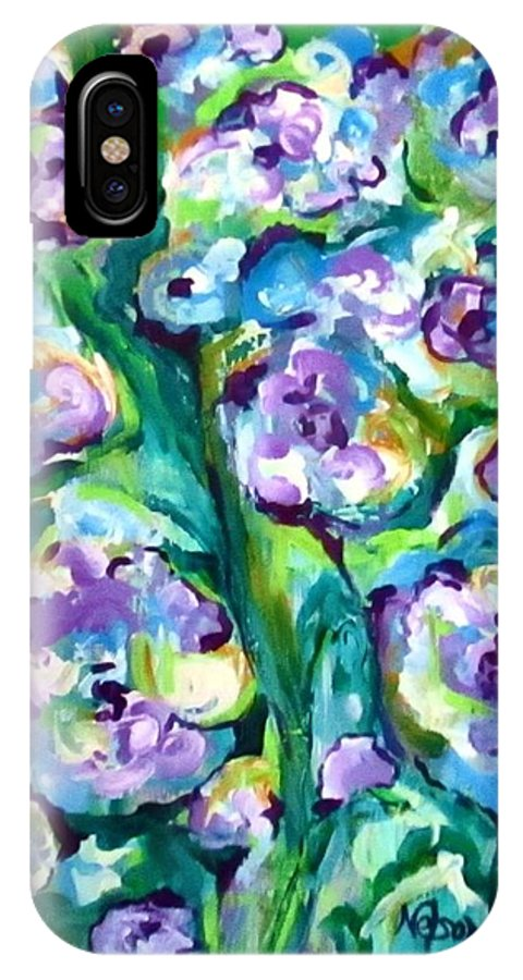Free Flowing IPhone X Case featuring the painting Blue Pansies by Martha Nelson
