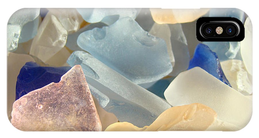 Decorative IPhone X Case featuring the photograph Blue Pink Orange Seaglass Beach Garden by Patti Baslee