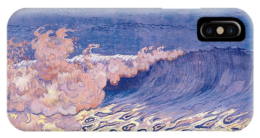 Breakers IPhone X Case featuring the painting Blue Seascape Wave Effect by Georges Lacombe