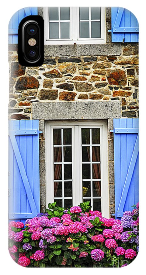 House IPhone X Case featuring the photograph Blue Shutters by Elena Elisseeva