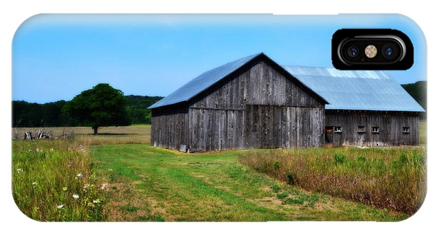 Barn IPhone X Case featuring the photograph Blue Skies by Michelle Calkins
