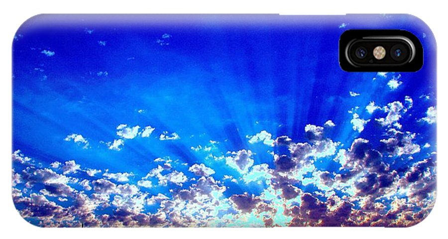 The Blue Sky Shines As Does The Bright Morning Sun. Sunscape IPhone X Case featuring the digital art Blue Sky Shine by L L L