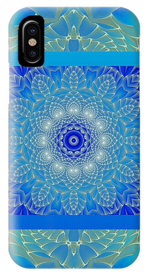 Hanza Turgul IPhone X Case featuring the digital art Blue Space Flower by Hanza Turgul