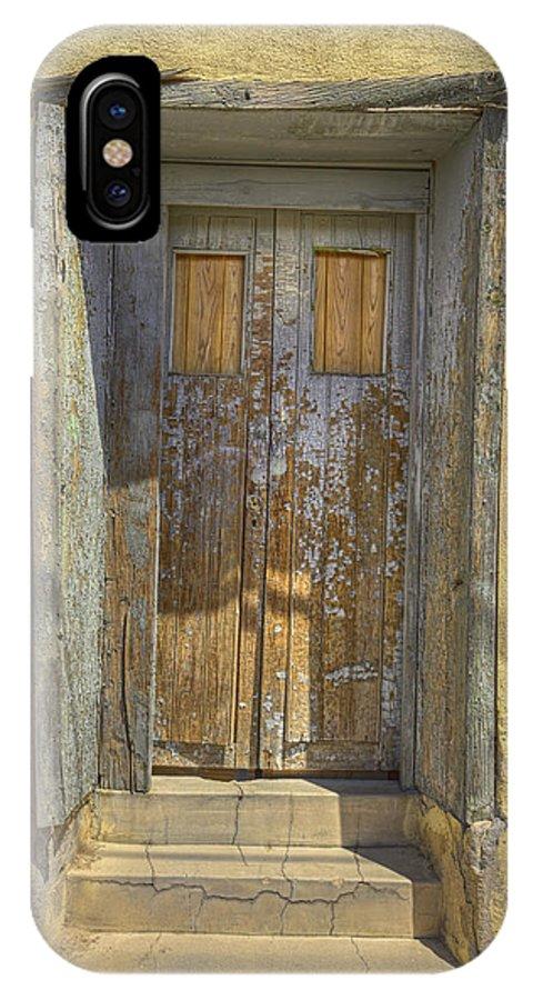 Door IPhone X Case featuring the photograph Blue Stripped Door by Mark Harrington