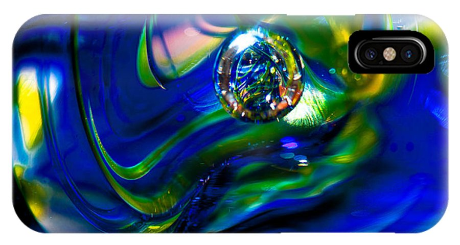 Glass IPhone X Case featuring the photograph Blue Swirls by David Patterson