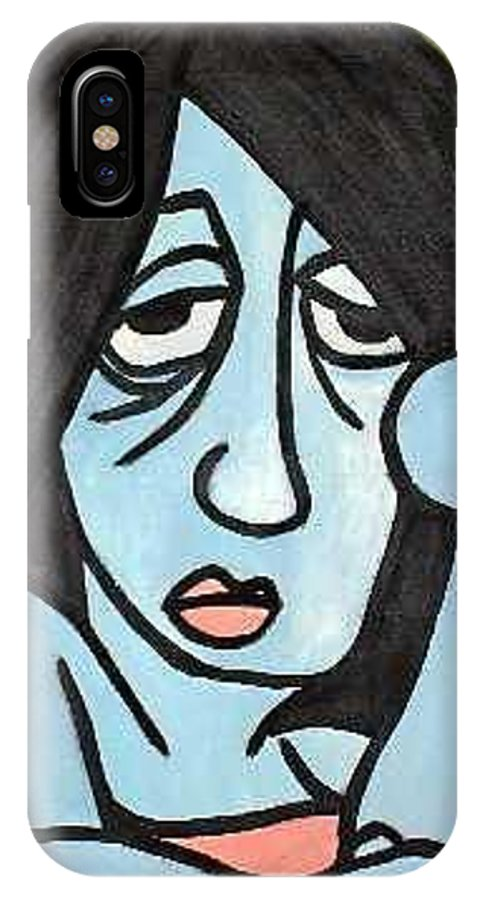 Portrait IPhone X Case featuring the painting Blue by Thomas Valentine