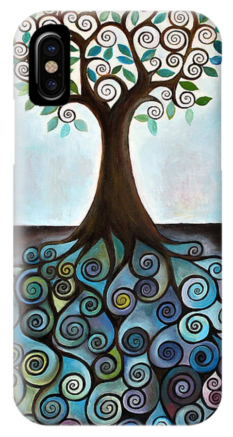 Tree IPhone X Case featuring the painting Blue Tree by Manami Lingerfelt
