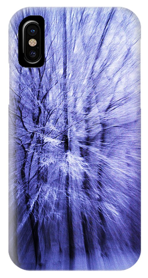 Abstract IPhone X Case featuring the photograph Blue Trees by Guy Shultz