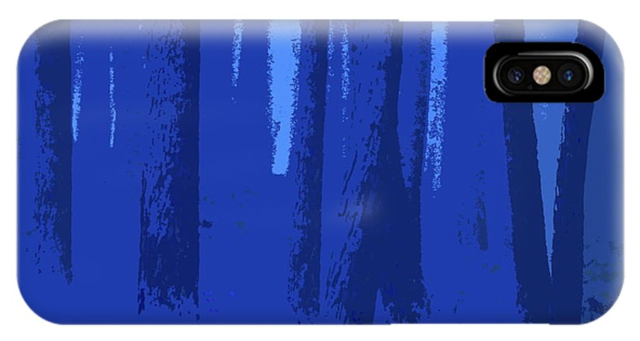 Blue IPhone X Case featuring the digital art Blue Trees by Ronald Jansen