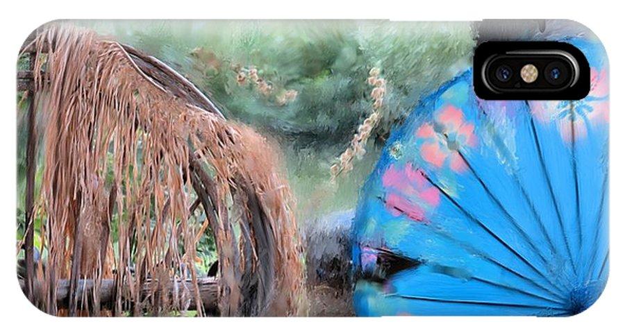 Blue Umbrella IPhone X Case featuring the digital art Blue Umbrella by Janet Peters