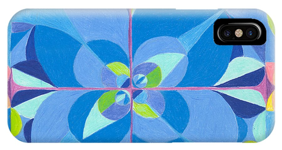 Color IPhone Case featuring the drawing Blue Unity by Kim Sy Ok