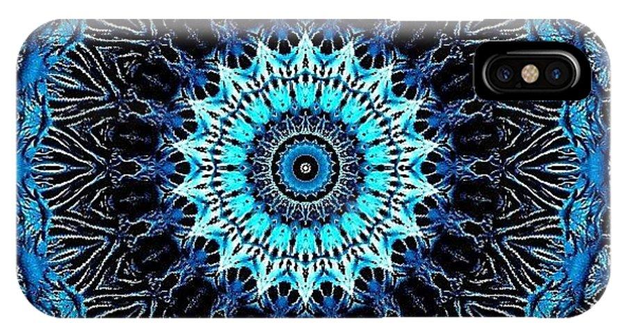 Kaleidoscope IPhone X Case featuring the digital art Blue Veins by Dreams in the Kaleidosphere