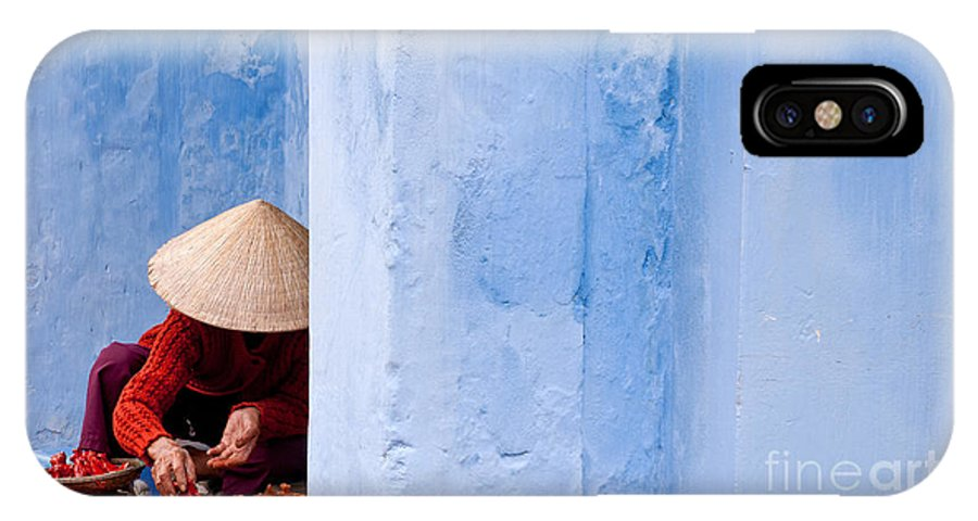 Vietnam IPhone X Case featuring the photograph Blue Wall Hawker 01 by Rick Piper Photography