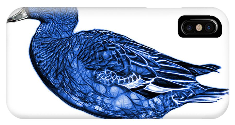 American Wigeon IPhone X Case featuring the mixed media Blue Wigeon Art - 7415 - Wb by James Ahn