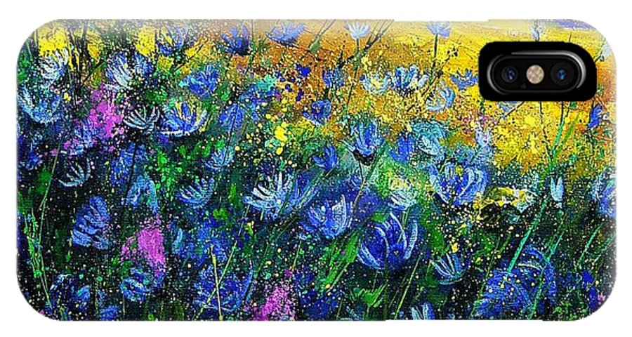 Flowers IPhone X Case featuring the painting Blue Wild Chicorees by Pol Ledent