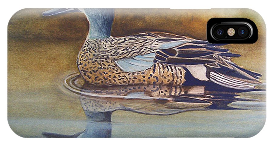 Rick Huotari IPhone X / XS Case featuring the painting Blue Winged Teal by Rick Huotari