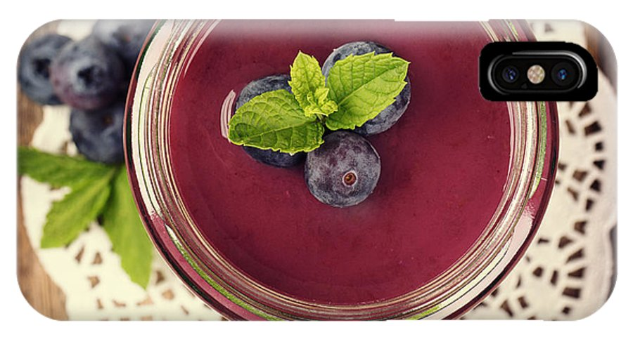 Smoothie IPhone X Case featuring the photograph Blueberry Smoothie Retro Style Photo. by Jane Rix