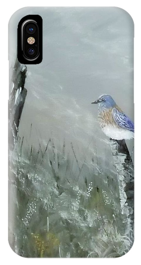 Bluebird IPhone X / XS Case featuring the painting Bluebird On Post by Heather Bass