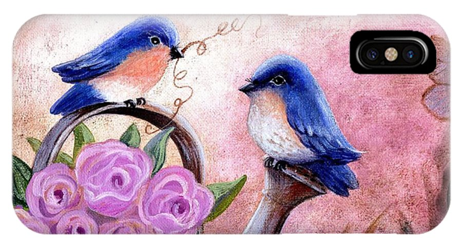 Shabby Chic IPhone X Case featuring the painting Bluebirds And Butterflies by Marilyn Smith