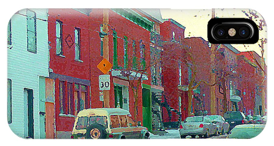 Pointe St Charles IPhone X Case featuring the painting Blues And Brick Houses Winter Street Suburban Scenes The Point Sud Ouest Montreal Art Carole Spandau by Carole Spandau