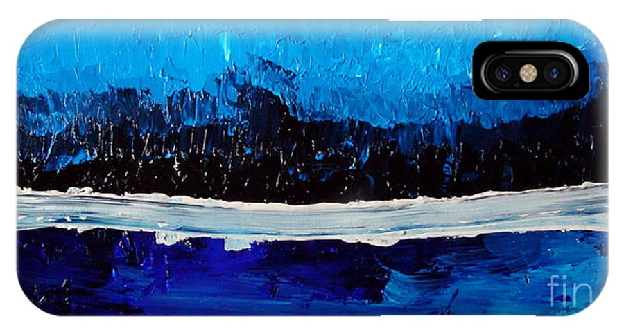 Blue IPhone X Case featuring the painting Blues by Holly Picano