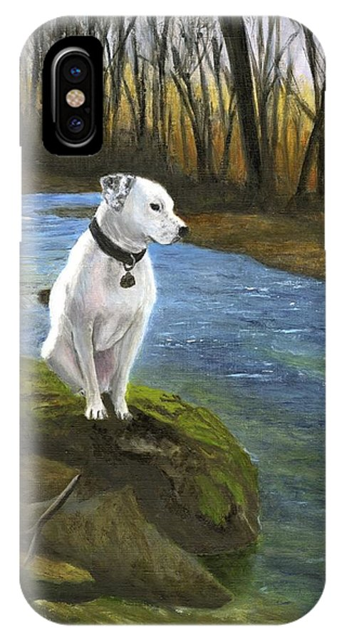 Dog IPhone X Case featuring the painting Bo At The Patapsco by Deborah Butts