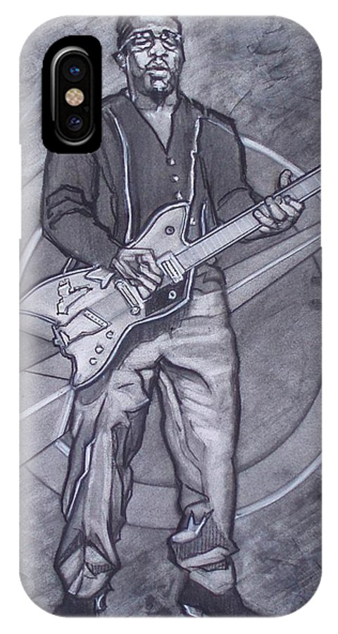 Texas;charcoal;king Of Rock;rock And Roll;music;1950s;blues;musician;funk;electric Guitar;marble;soul IPhone X Case featuring the drawing Bo Diddley - Have Guitar Will Travel by Sean Connolly