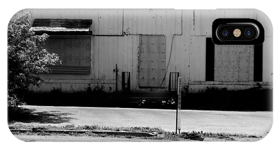 Building IPhone X Case featuring the photograph Boarded Up - Black And White by Corinne Elizabeth Cowherd