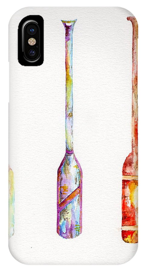 Boat IPhone X Case featuring the painting Boat Oars X 3 by Tamyra Crossley