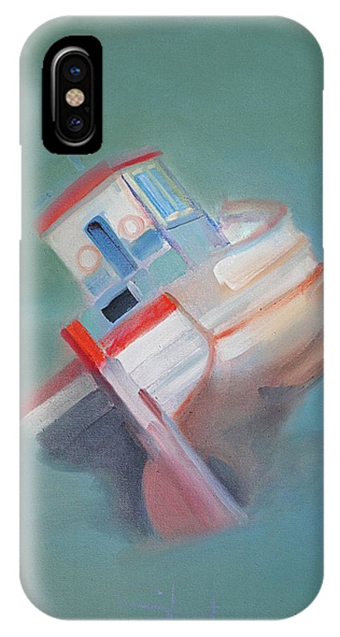 Fishing Boat IPhone X Case featuring the painting Boat Retired Tavira by Charles Stuart