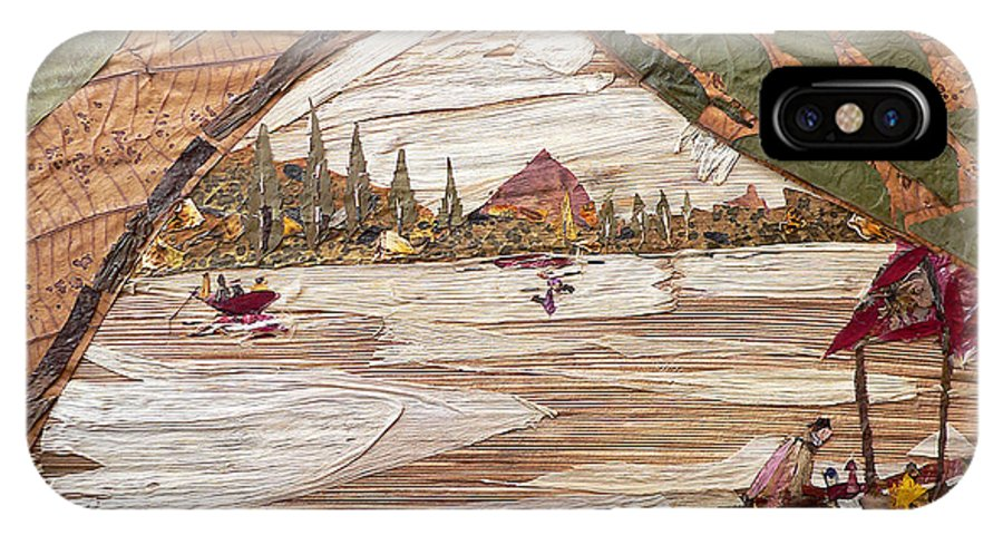 Boat Scene IPhone X Case featuring the mixed media Boat View From Boat by Basant Soni