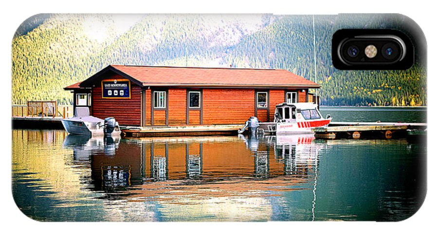 IPhone X Case featuring the photograph Boathouse Lake Minnewanka Ab Canada by Laura Strain