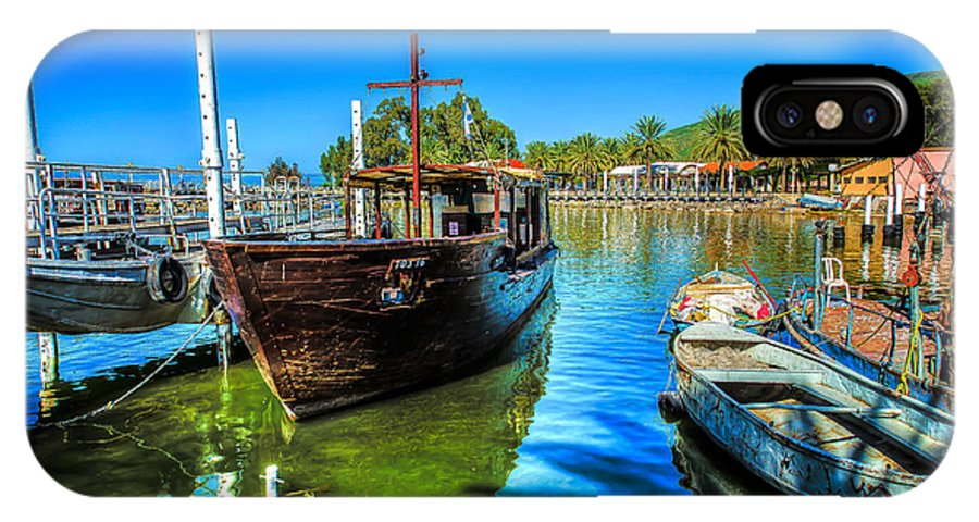 Israel IPhone X Case featuring the photograph Boats At Kibbutz On Sea Galilee by David Morefield