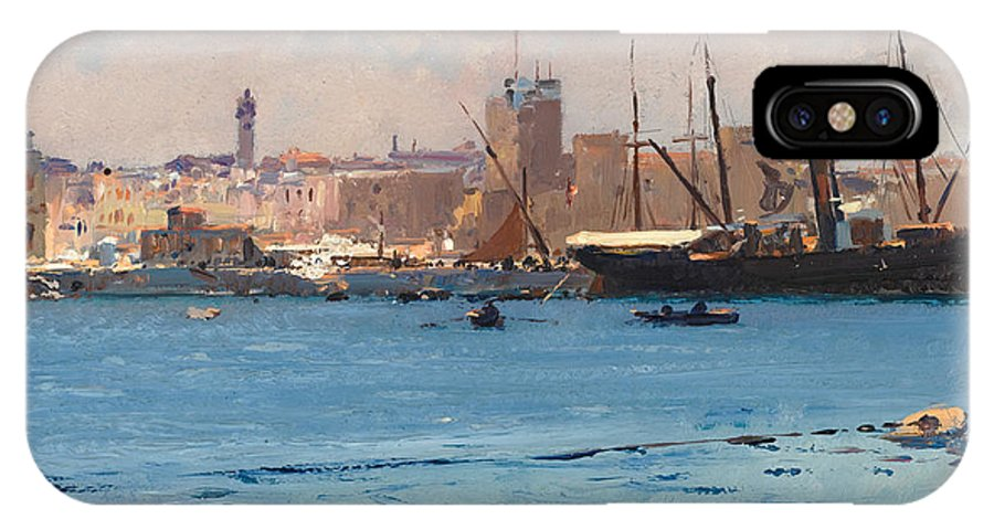 Fausto Zonaro IPhone X Case featuring the painting Boats In A Port by Fausto Zonaro