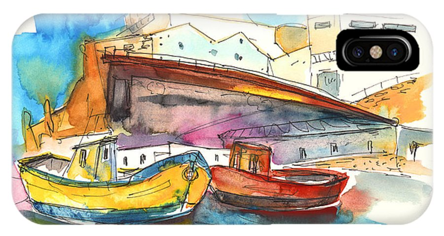 Portugal Art IPhone X Case featuring the painting Boats In Ericeira In Portugal by Miki De Goodaboom