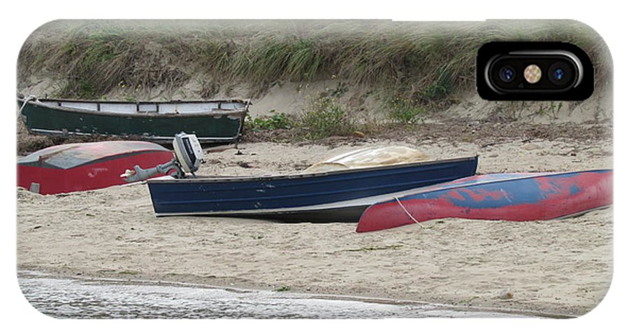 Boats IPhone X Case featuring the photograph Boats On The Beach by Marci Spotts