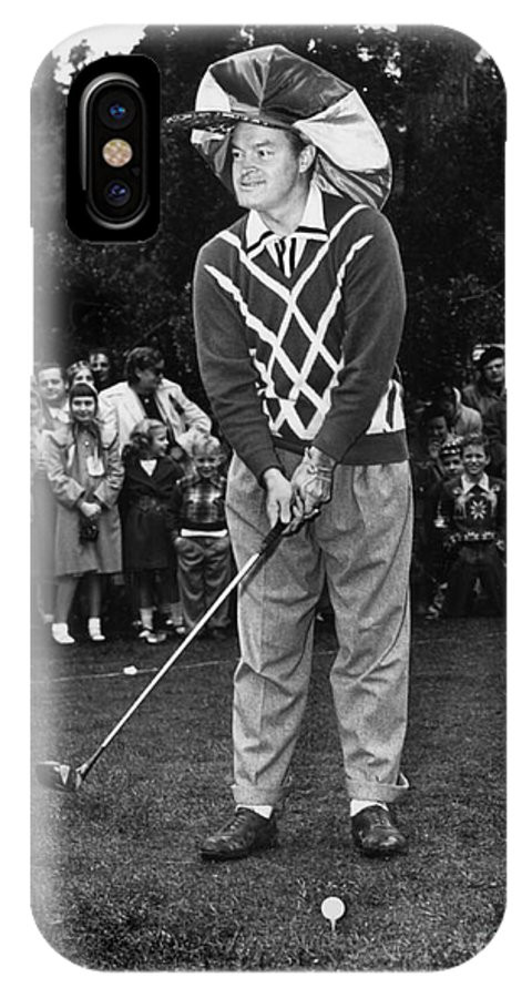 Bob Hope IPhone X Case featuring the photograph Bob Hope At Bing Crosby National Pro-am Golf Championship Pebble Beach Circa 1955 by California Views Archives Mr Pat Hathaway Archives