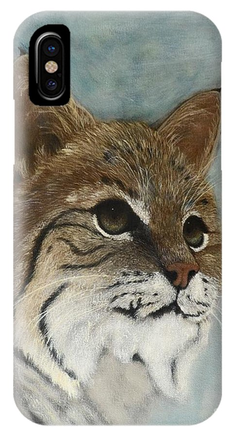 Bobcat IPhone X Case featuring the painting Bob by Jayne Schelden