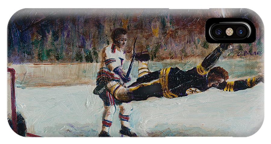 Hockey IPhone X Case featuring the painting Bobby Orr by Charles Bickel