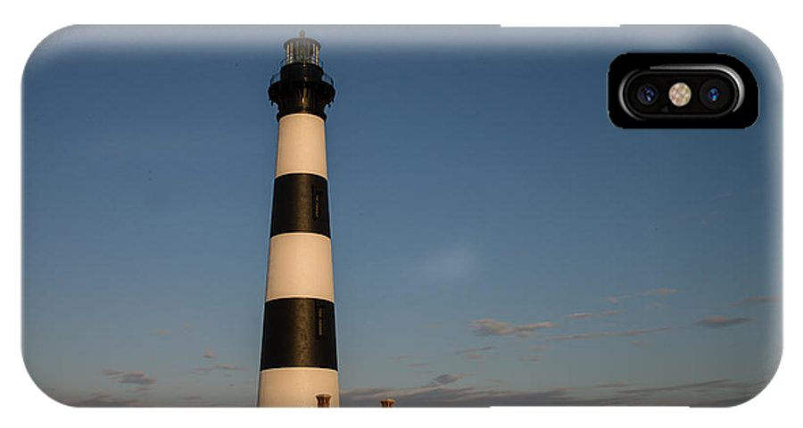 Light House IPhone X Case featuring the photograph Bodie Island Lighthouse Moon by Stacy Abbott