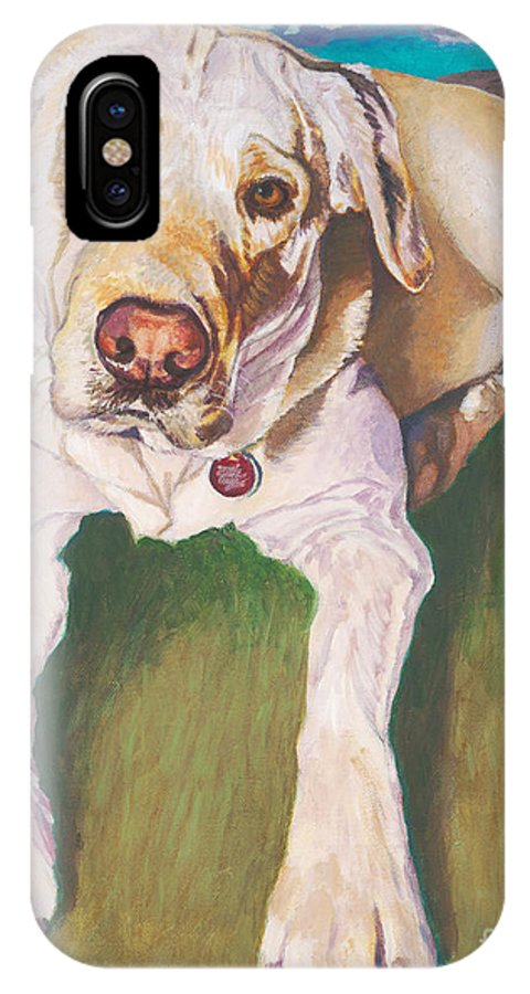Pure Bred Labrador Retriever IPhone X Case featuring the painting Bodie Living Large by Lisa Hershman