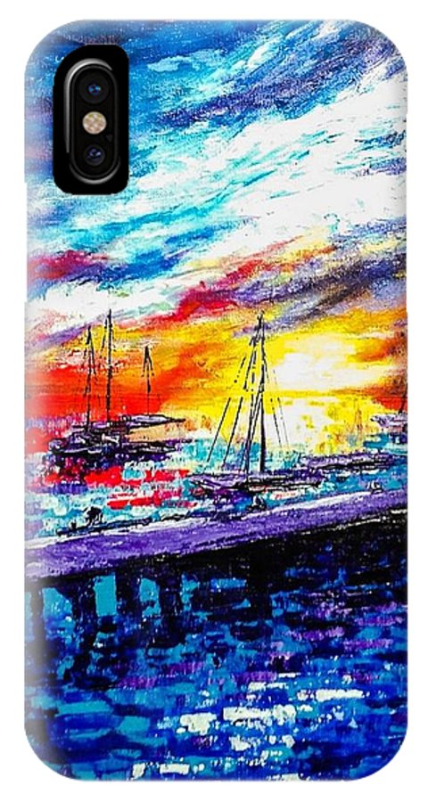Sunset IPhone X Case featuring the painting Bon Voyage by Naeema Bacchus