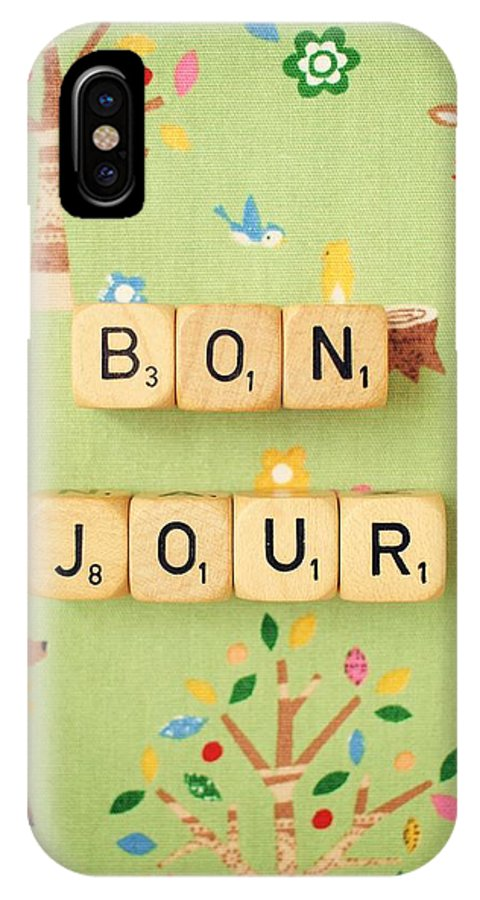 Scrabble Blocks IPhone X Case featuring the photograph Bonjour by Mable Tan