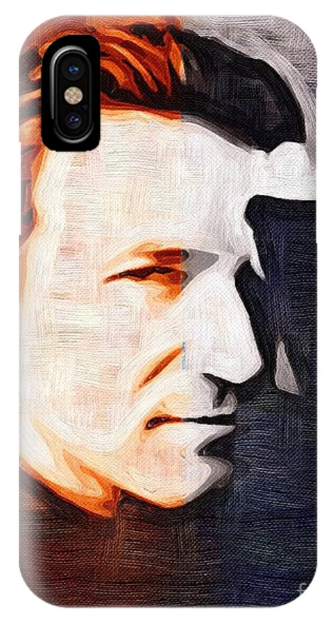Bono IPhone X Case featuring the mixed media Bono by Tim Knowles