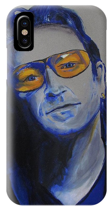 Celebrity Portraits IPhone X Case featuring the painting Bono U2 by Eric Dee