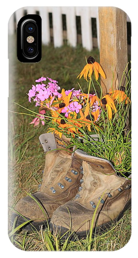 Flowers IPhone X / XS Case featuring the photograph Boots In Bloom by Victoria Dauphinee