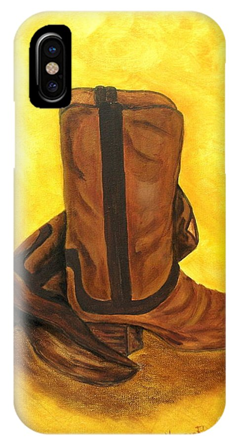 Boots IPhone X Case featuring the painting Boots by Nancy Rucker